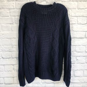 Weatherproof Vintage | blue cable knit sweater